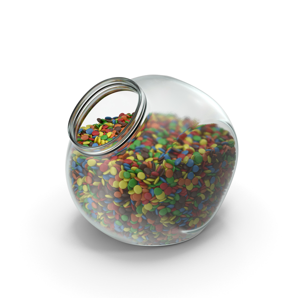 Spherical Jar with Colored Chocolate Buttons PNG & PSD Images