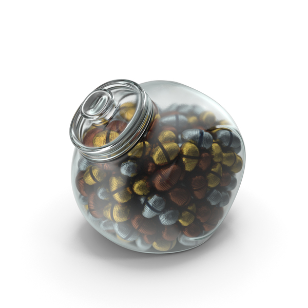 Spherical Jar With Fancy Wrapped Chocolate Easter Eggs PNG & PSD Images