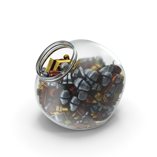 Chocolate: Spherical Jar with Mixed Fancy Wrapped Candy PNG & PSD Images