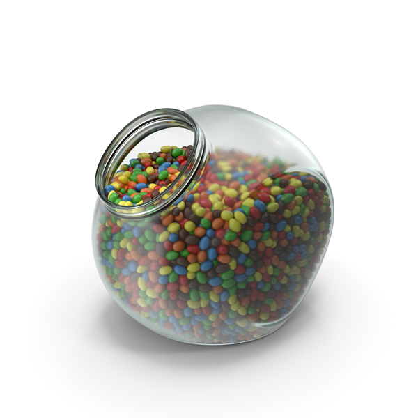 Spherical Jar with Peanuts with Colored Chocolate Coating PNG & PSD Images