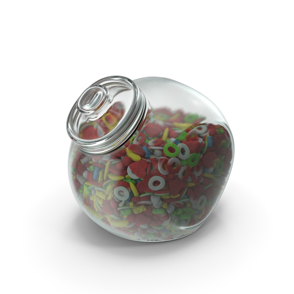 Spherical Jar With Sugar Coated Gummy Candy PNG & PSD Images