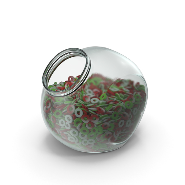 Bear: Spherical Jar with Sugar Coated Gummy Rings PNG & PSD Images