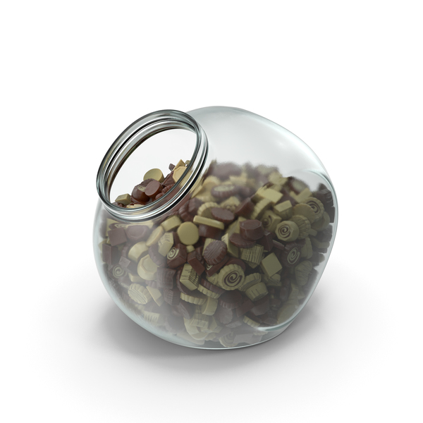 Spherical Jar with Truffle Chocolate Candy PNG & PSD Images