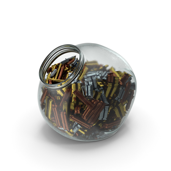 Spherical Jar with Wrapped Long Candy Bars PNG & PSD Images