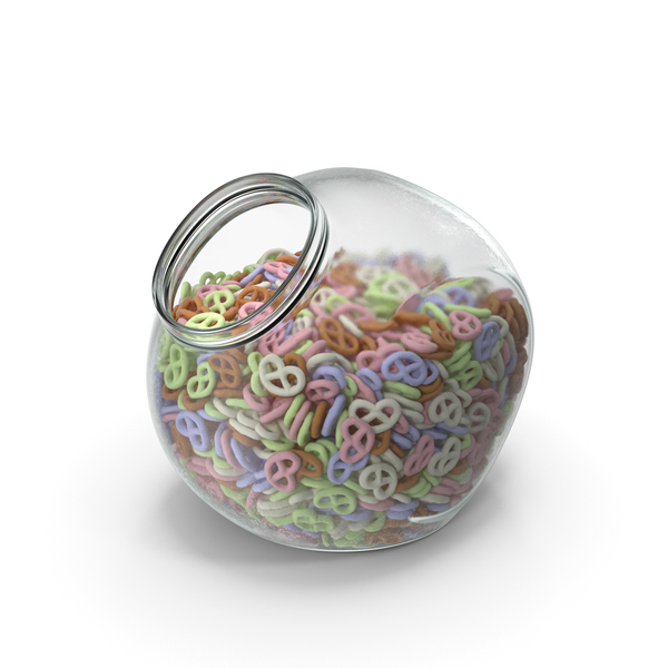 Spherical Jar with Yogurt Covered Pretzels PNG & PSD Images