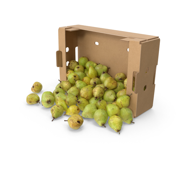 Spilled Pears with Cardboard Box PNG & PSD Images