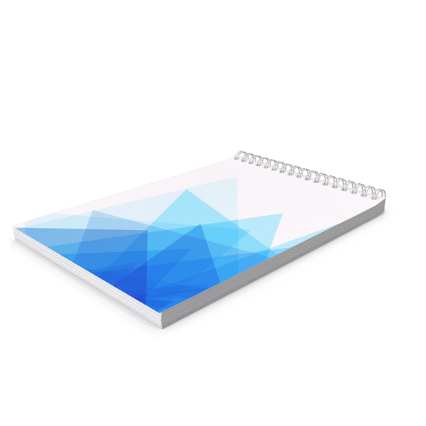 Spiral Notebook with Blue Geometric Pattern PNG & PSD Images