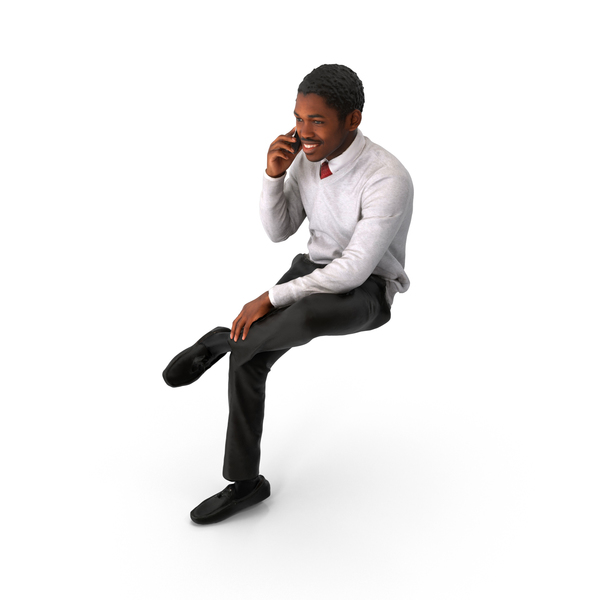 Spring Business Man Sitting on Phone PNG & PSD Images