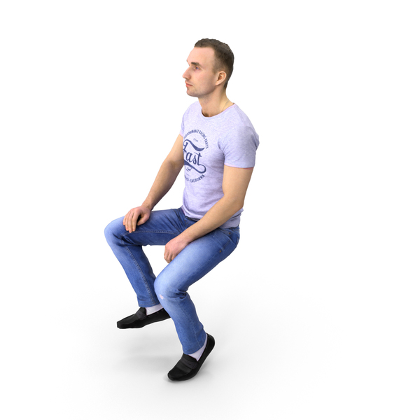 Spring Casual Man Sitting PNG & PSD Images