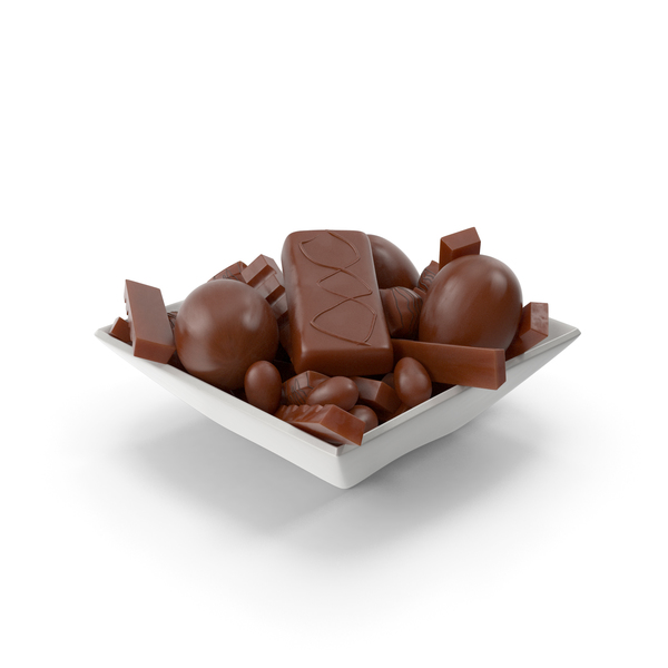 Square Bowl With Assorted Chocolate Candies PNG & PSD Images