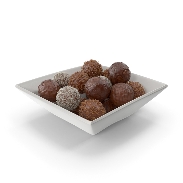 Square Bowl with Chocolate Balls PNG & PSD Images