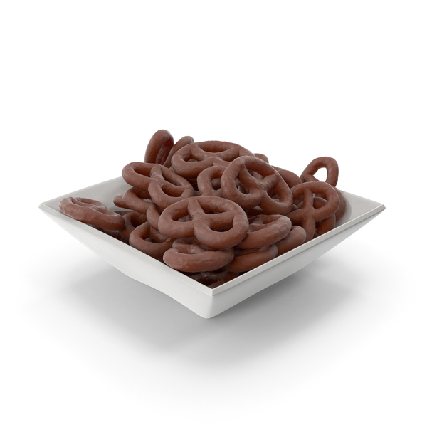 Square Bowl with Chocolate Covered Pretzels PNG & PSD Images