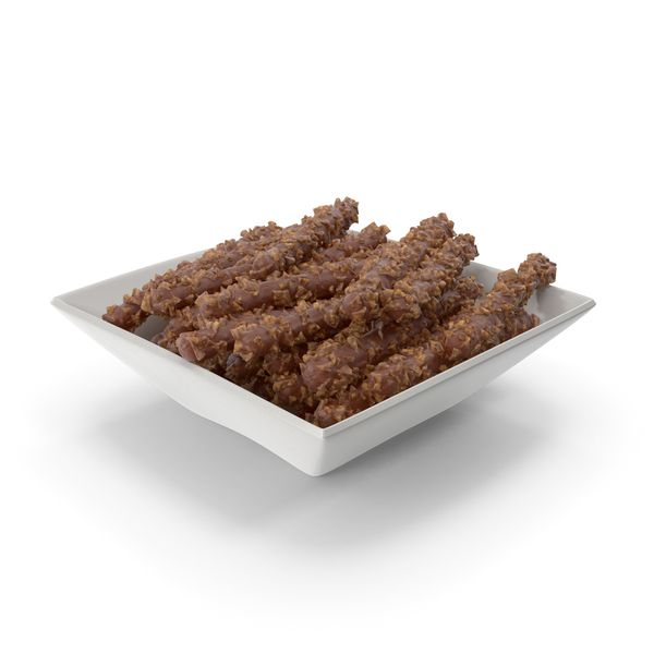 Square Bowl with Chocolate Covered Rods with Nuts PNG & PSD Images