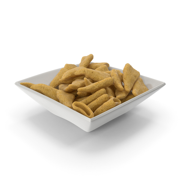 Square Bowl with Cone Shaped Corn Snacks PNG & PSD Images
