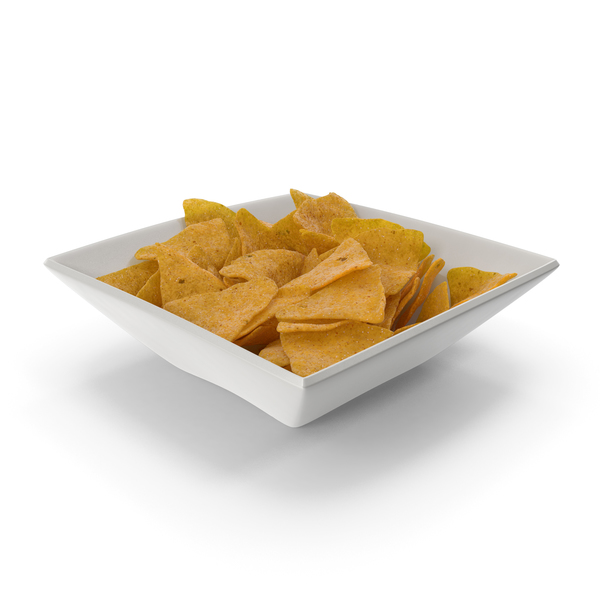 Square Bowl with Corn Tortilla Nacho Chips PNG & PSD Images