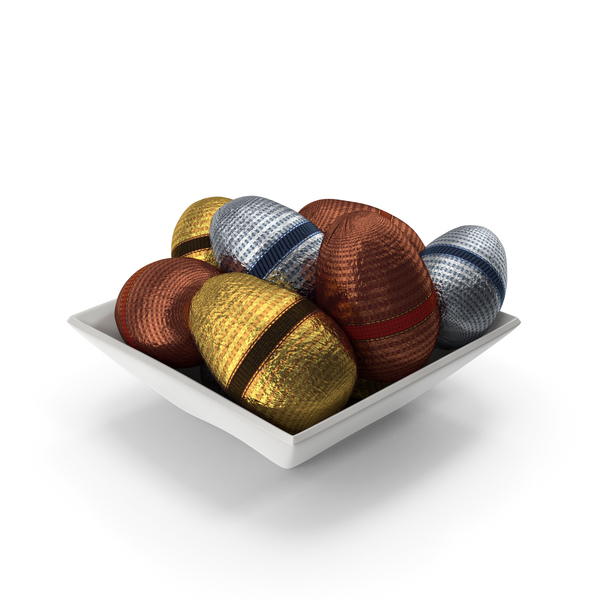 Candy: Square Bowl with Fancy Wrapped Chocolate Easter Eggs PNG & PSD Images