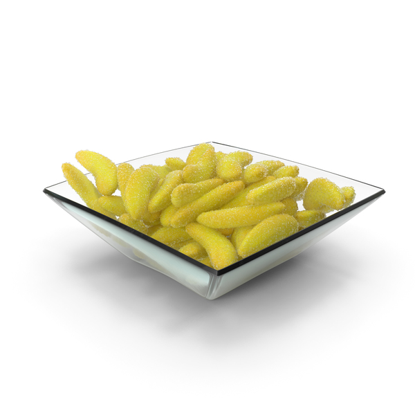 Square Bowl with Gummy Bananas PNG & PSD Images