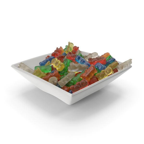 Square Bowl with Gummy Bears PNG & PSD Images