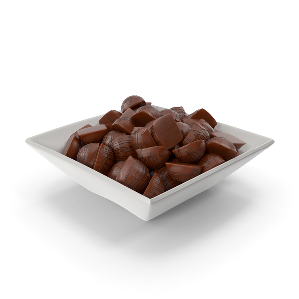 Square Bowl with Mini Chocolate Candies PNG & PSD Images