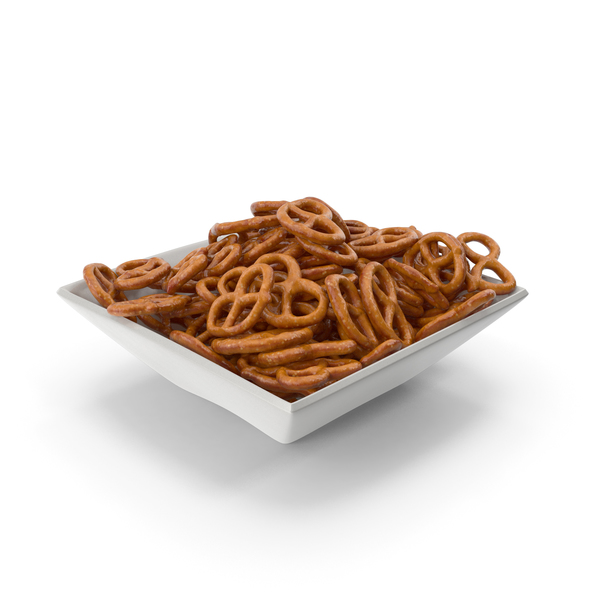 Square Bowl with Mini Pretzels PNG & PSD Images
