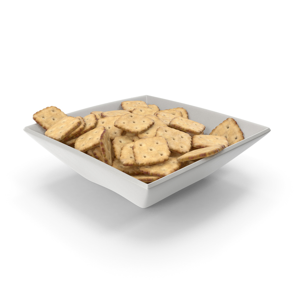 Square Bowl with Mini Rhombus Crackers PNG & PSD Images