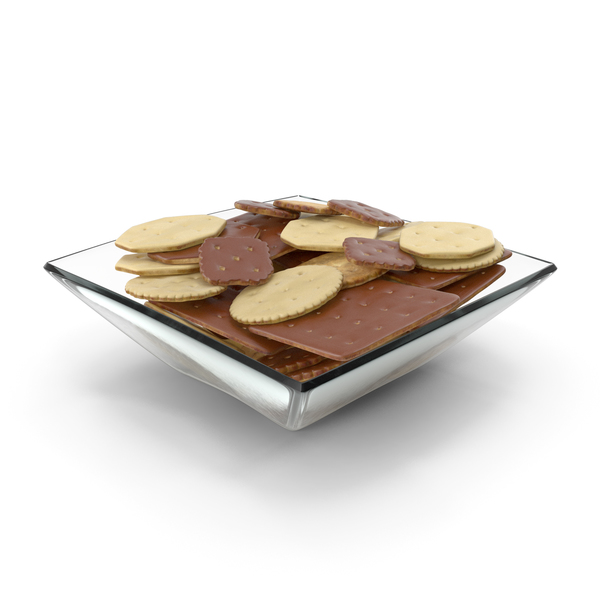 Cracker: Square Bowl with Mixed Chocolate Covered Crackers PNG & PSD Images