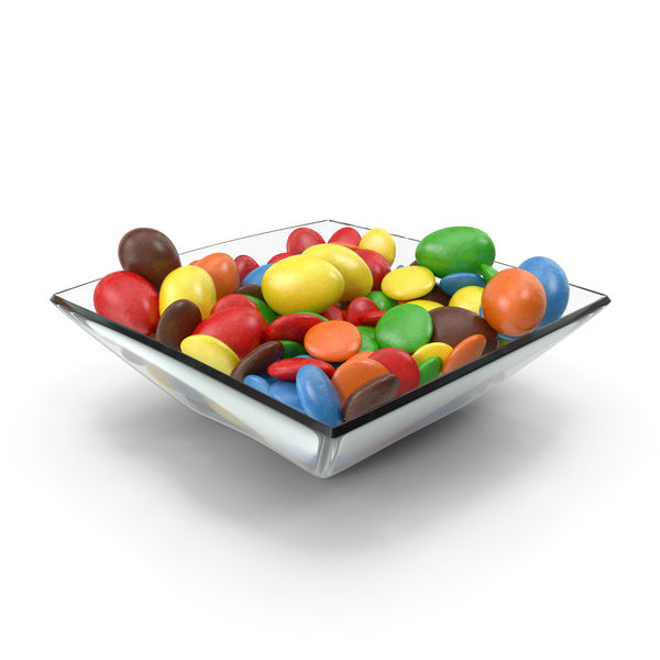Square Bowl with Mixed Color Coated Chocolate Candy PNG & PSD Images