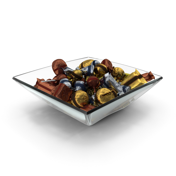 Square Bowl with Mixed Fancy Wrapped Candy PNG & PSD Images