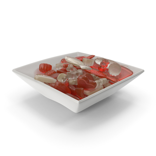 Square Bowl with Mixed Gummy Candy PNG & PSD Images