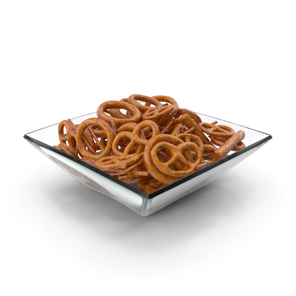 Square Bowl with Mixed Mini Pretzels PNG & PSD Images