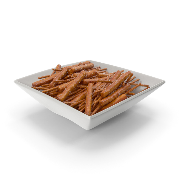Snack Food And: Square Bowl with Mixed Salty Mini Pretzel Sticks PNG & PSD Images
