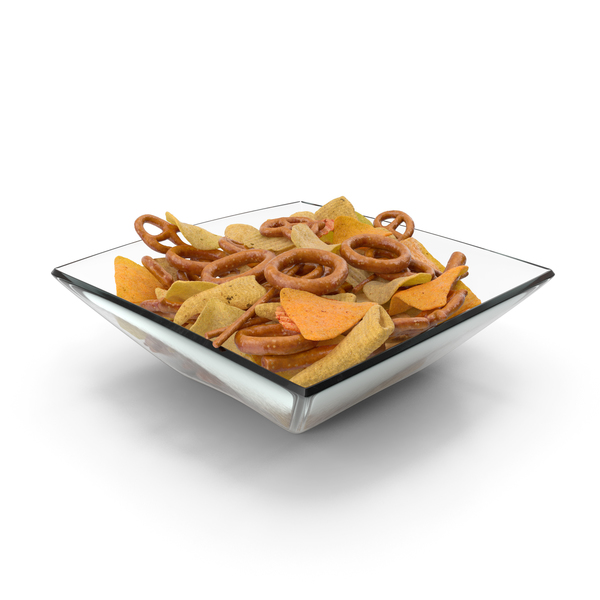 Square Bowl With Mixed Salty Snacks PNG & PSD Images