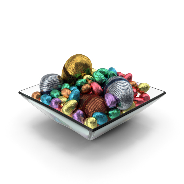 Candy: Square Bowl with Mixed Wrapped Chocolate Easter Eggs PNG & PSD Images