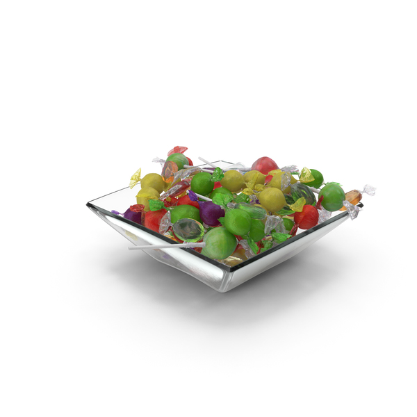 Square Bowl With Mixed Wrapped Hard Candy PNG & PSD Images