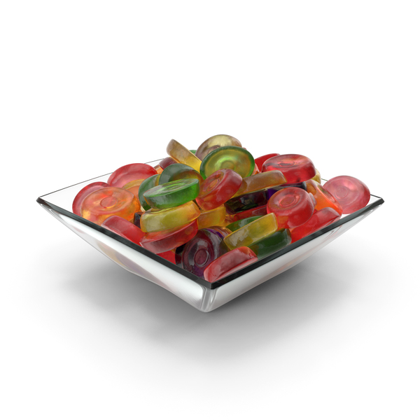 Square Bowl with Oval Hard Candy PNG & PSD Images