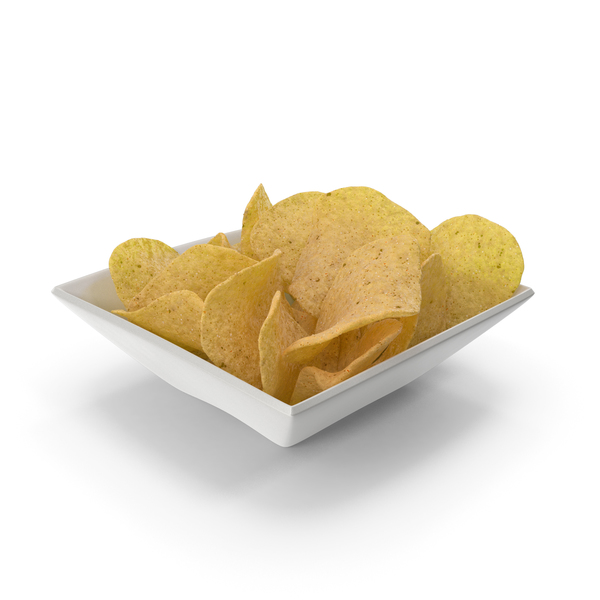 Square Bowl with Potato Chips PNG & PSD Images