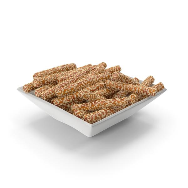 Square Bowl with Pretzel Sticks with Sesame PNG & PSD Images