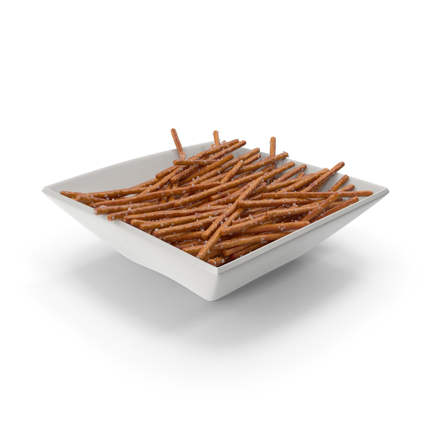 Square Bowl with Salted Mini Pretzel Sticks PNG & PSD Images