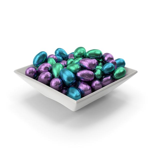 Square Bowl with Small Wrapped Chocolate Easter Eggs PNG & PSD Images