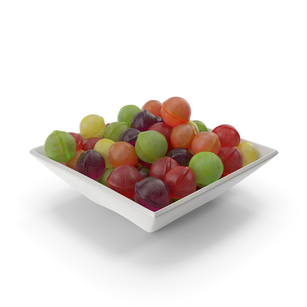 Square Bowl with Spherical Hard Candy PNG & PSD Images