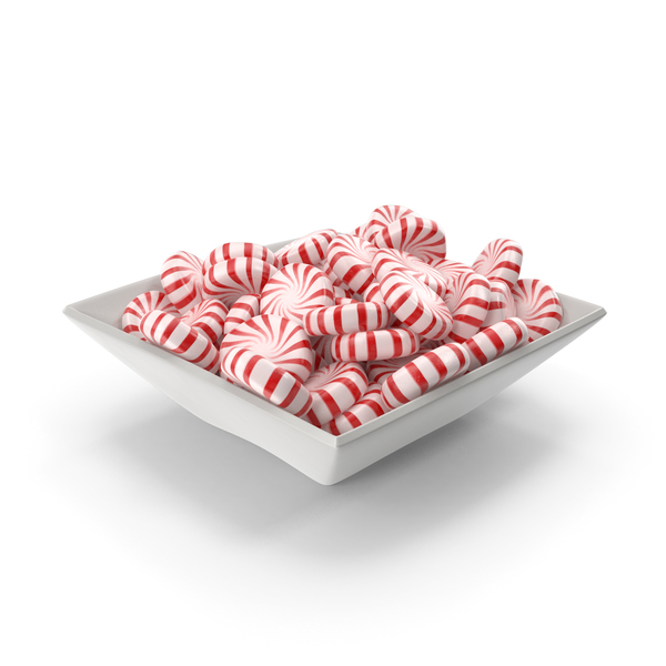 Square Bowl with StarLight Peppermint Candy PNG & PSD Images