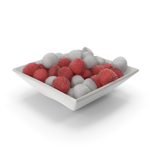 Square Bowl with Sugar Coated Candy PNG & PSD Images