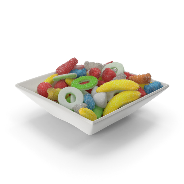 Square Bowl with Sugar Coated Gummy Candy PNG & PSD Images