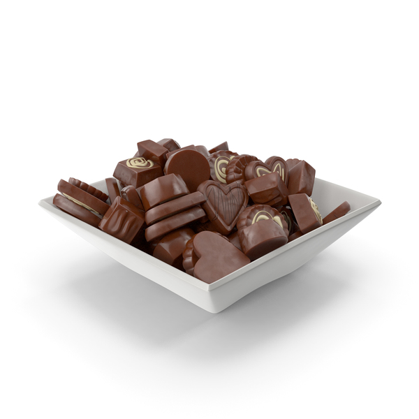 Square Bowl with Truffle Chocolate Candy PNG & PSD Images