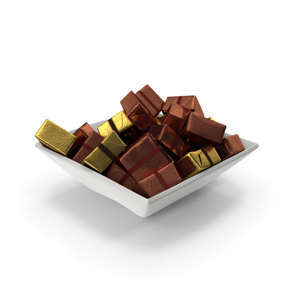 Square Bowl with Wrapped Square Chocolate Candy PNG & PSD Images