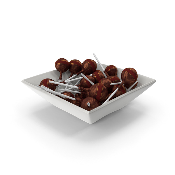 Hard Candy: Square Bowl With Wrapped Fancy Lollipops PNG & PSD Images
