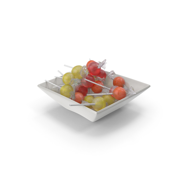 Hard Candy: Square Bowl With wrapped Lollipops PNG & PSD Images