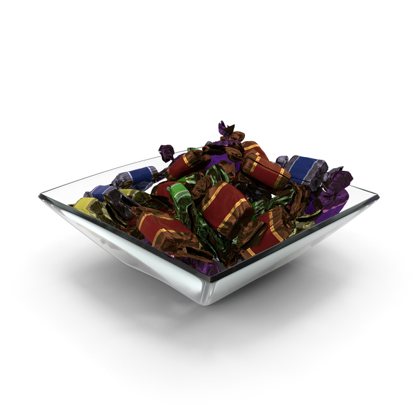 Square Bowl with Wrapped Toffee Candy PNG & PSD Images