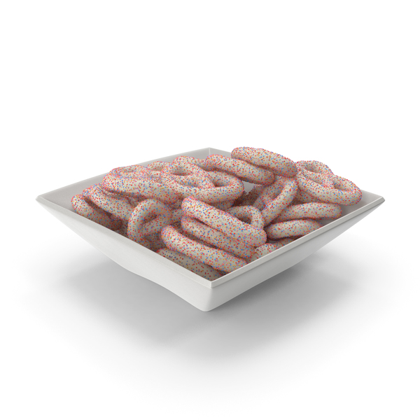 Pretzel: Square Bowl with Yogurt Covered Pretzels with Colored Sugar Sprinkles PNG & PSD Images