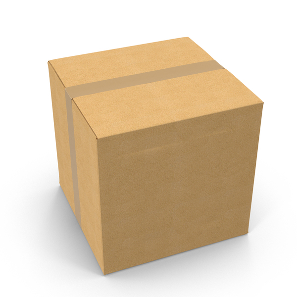 Square Cardboard Box with Tape PNG & PSD Images